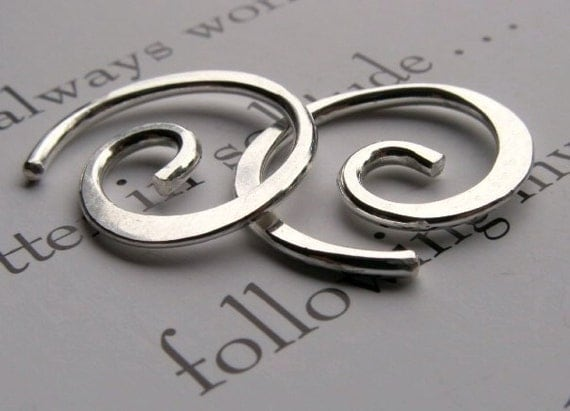 Gauged Spiral Earrings, Sterling Silver, for Stretched Pierceings,  14 or 16  Unisex or Mens - 20mm ( 3/4 inch)