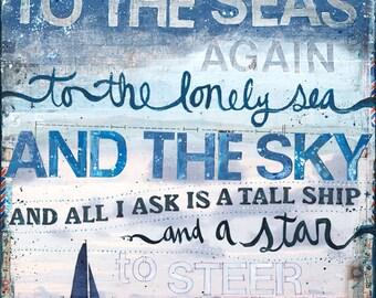Sea Fever paper print - inspirational nautical word art