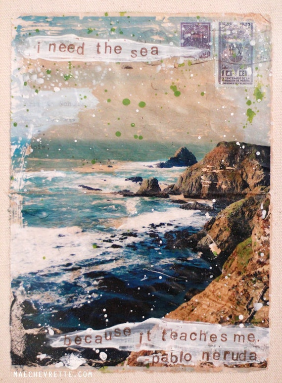 A Little Love Note (To The Sea) - framed original mixed media painting - gel image transfer on vintage envelope, ocean beach themed