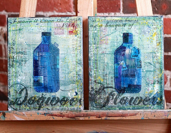 Dogwood Duo No. 1 - diptych original paintings of two bottles with lyrics, typography text word art mixed media rustic