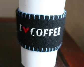 Upcycled Coffee Cup Cozy - Felted Wool Sweater