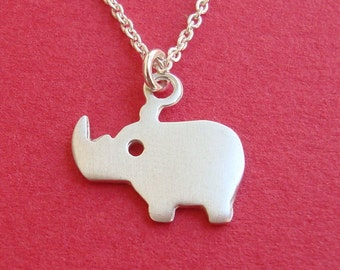 Rhino Necklace tiny Rhino Pendant sterling silver  jewelry gift girl necklace cute charm Safari Jewelry