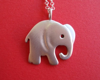 Silver Elephant Necklace Elephant Pendant Large Elephant Elephant jewelry Boys necklace animal jewelry Birthday gift for her teens gift