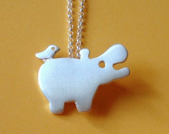 Hippo Necklace with tiny friend Bird Necklace Animal Necklace sterling silver Kid jewelry Hippo Pendant Zoo Necklace