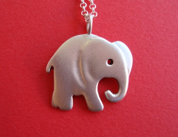 Silver Elephant Necklace Elephant Pendant Large Elephant Elephant jewelry Boys necklace animal jewelry christmas gift for her teens gift