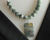 Reserved...moss and tree agate necklace