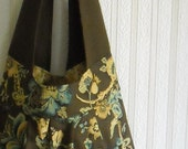 Reserved...sling bag...brown and blue floral