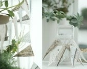 NEW  Wooden old planks wallpaper garland in soft grey, blue & naturals Festive - Celebration - Wedding - Party - Home Decor  -