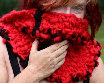 Handknitted soft chunky red and black cowl: 'Not just for Christmas'