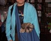 Custom made cotton/denim sling dog pet carrier bag purse sz xs choose your fabrics
