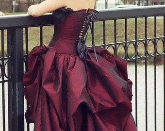 Bustle skirt plus size-corset skirt-bridal skirt-bustle-wedding skirt-pick up skirt-denver victorian dress maker-the secret boutique