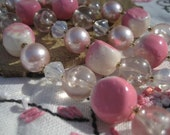 Vintage Necklace, Pink and White, Double Strand