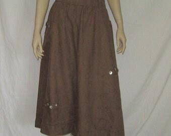 Brown Linen Bloomers Gauchos Wide Leg Pants Size Large