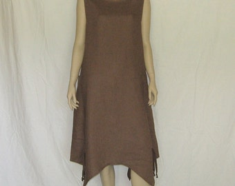 Flowing Brown Linen Dress with Eiffel Tower Pockets Size Large