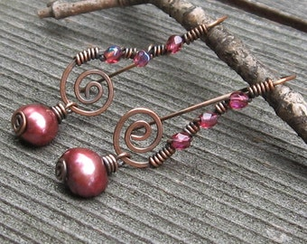 Copper Swirls with Wine Colored Freshwater Pearls and Crystal Accent Earrings