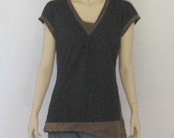 Black and Brown Makes the World Go Round, Jazzed Up Black T Shirt Size M or L