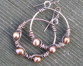 Jumpin Through Hoops, Copper Freshwater Pearls on Copper Hoops