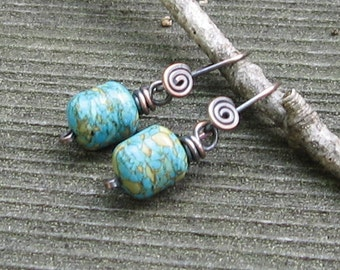 Over a Barrel, Mosaic Turquoise Barrels on Copper Earwires