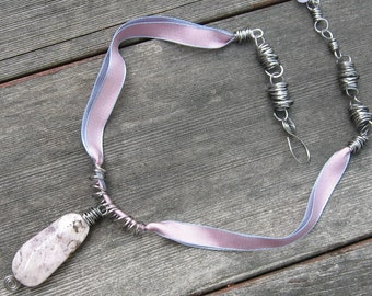 Rocks and Ribbons Necklace brought together with Steel