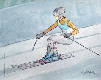 Downhill Skiing print (8 x 10)