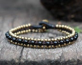 Black Bead Brass Bracelet