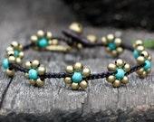 Turquoise Flower Brass Bracelet