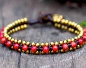 Coral Bead Brass Bracelet