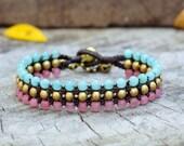 Aquamarine and Pink Flat Brass bracelet