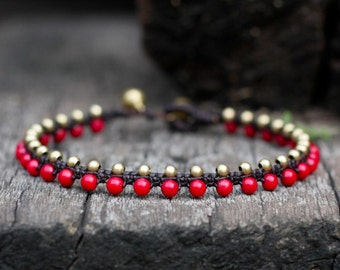 Coral Daisy Brass Beads Anklet