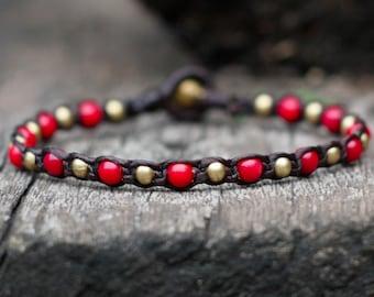 One Line Coral Brass Bracelet