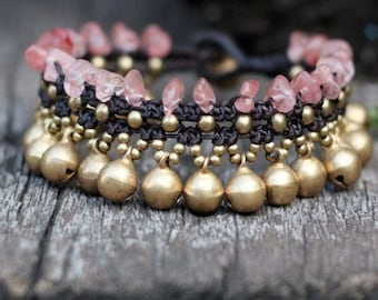 Cherry Quartz Jasmine Brass Bracelet