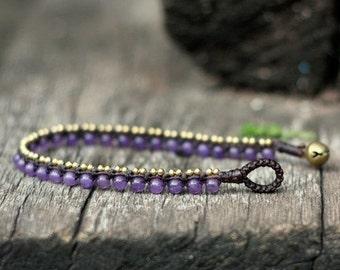 Simple Amethyst Brass Bracelet