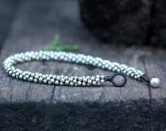 All Silver Beads Anklet