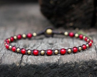 One Line Coral Brass Anklet
