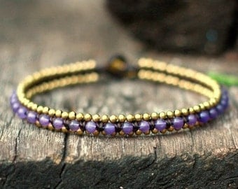 Purple Beads Brass Anklet
