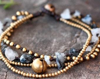 Smokey QuartZ Brass Chain Bracelet/Anklet