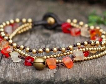 Carnelian Brass Chain Bracelet