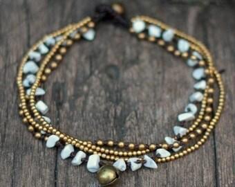 Howlite Brass Chain Anklet