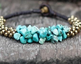 Turquoise Stone Brass Bracelet