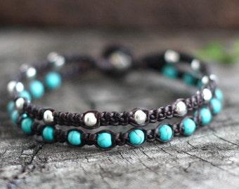 Hippie Turquoise Silver Bracelet