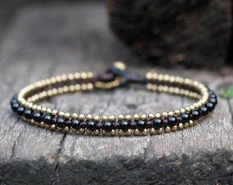 Black Bead Brass Anklet