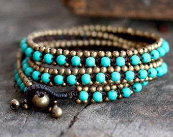 Turquoise Triple Wrap Brass Bracelet