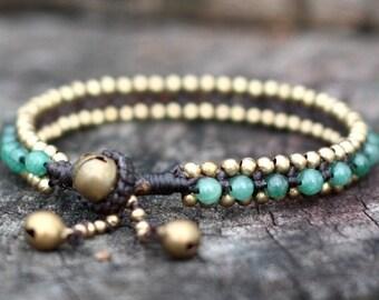 Jade Bead Brass Bracelet