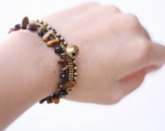 Tiger Eye Brass Chain Bracelet