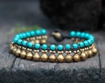 Turquoise Brass Bell Bracelet