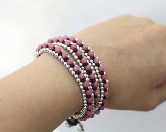 Pink Agate Triple Wrap Silver Bracelet
