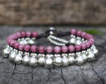 Pink Agate Silver Bells Bracelet