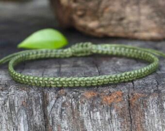 Leaf Green Cord Knot Bracelet