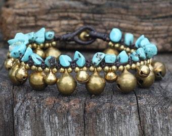 Turquoise Sun Brass Bracelet