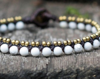 Simple Howlite Brass Bracelet